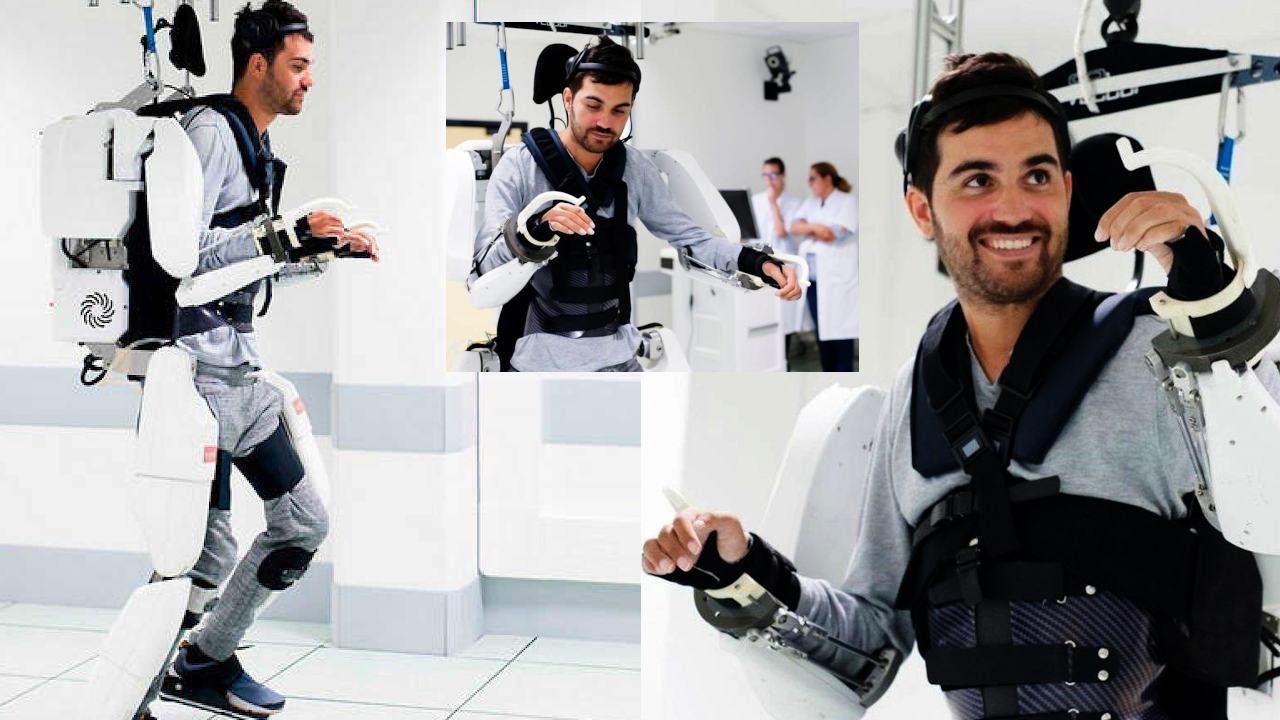 Exoesqueleto logra que hombre paralítico camine
