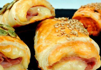 Rollos de jamón y queso al horno