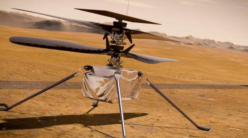 Un helicóptero vuela en Marte